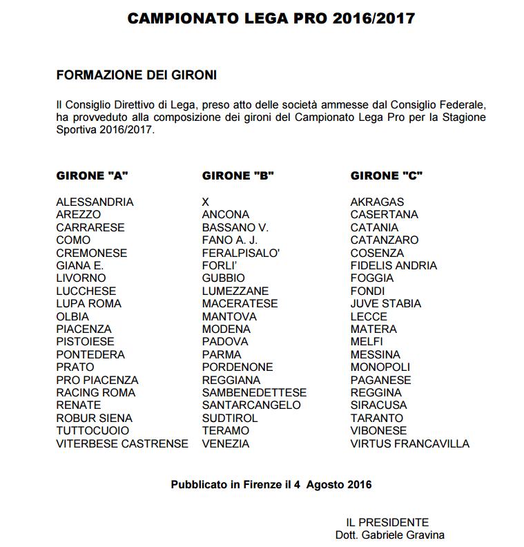 gironi Lega Pro 2016-17