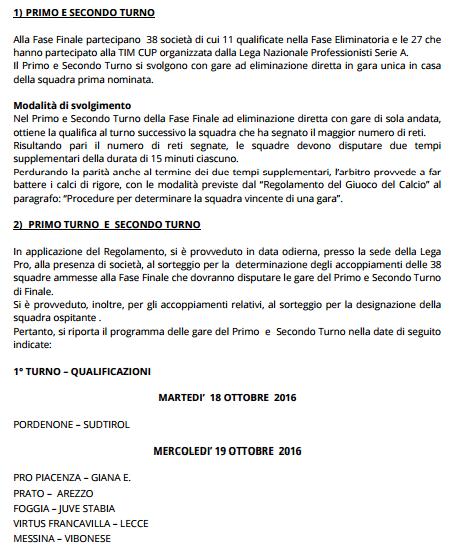 Primo Turno Coppa Italia Lega Pro