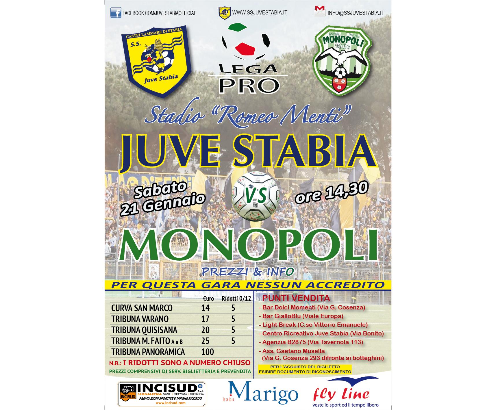 Juve Stabia-Monopoli prevendita